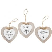 Heart Shaped Wooden Cat Lovers Hanging Sign..